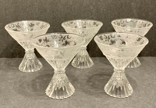 Paden City Glades Spring Orchard Lot of 5 Cocktail Glasses