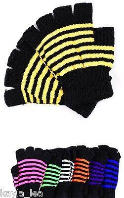 Neon Stripe Fingerless Acrylic Sweater Knit Gloves/Hand Warmers *8 Colors* (Fingerless Hand Warmers)