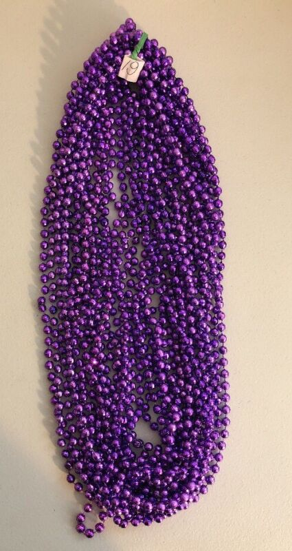 Purple Mardi Gras Bead Necklaces Lot of 19