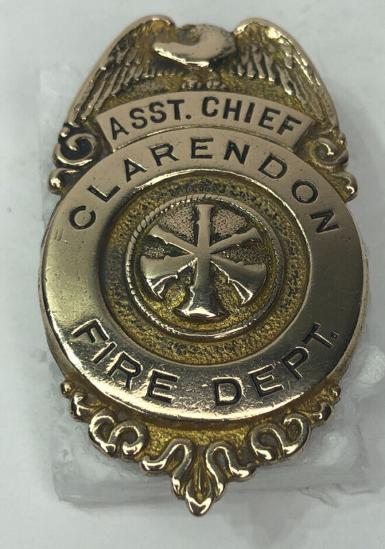 OBSOLETE Vintage Small  Assistant Chief Claredon, New York Fire Department Badge