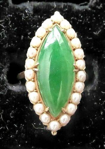 Vintage 14K yellow gold Apple Green Jade Jadeite & Seed Pearl Ring, size 5.25