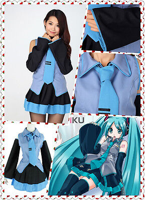 Hatsune Miku Vocaloid Anime Dress with Tie Halloween Cosplay Party Costume New - Miku Halloween Cosplay