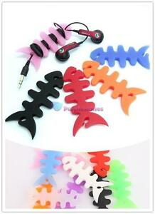 2-Cute-Fishbone-Earbud-earphone-Cord-silica-gel-Cable-Winder-Organizer-colorful