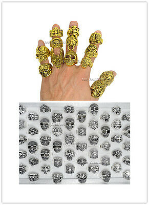 Wholesale Lots Mixed Skull Gold/Silver Men's Rings Jewelry Biker Punk Ring - Punk Wholesale