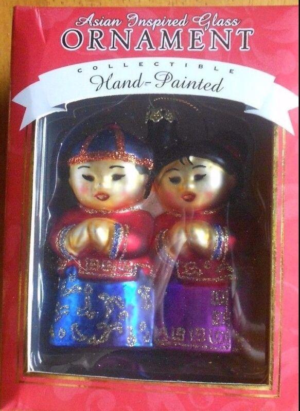 NIB HAWAII DESIGNED CHINESE FRIENDS GLASS CHRISTMAS ORNAMENT