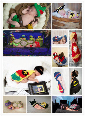 Baby cartoon costumes for babies crochet newborns super hero photography clothes - Costumes For Infants