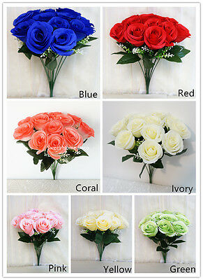 Sweet Home Deco 14'' One Dozen Sweet Roses Silk Artificial Bouquet for Wedding ()