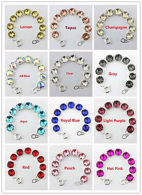 Silver Plated Glass Crystal Dot Statement Bracelet Bangle Women Fashion Jewelry ()