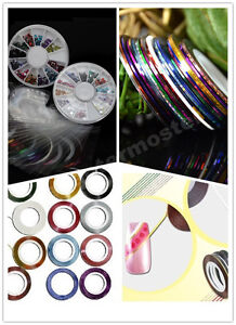 22xNail-Art-colorful-Striping-Tape-Line-2x-Glitters-Rhinestones