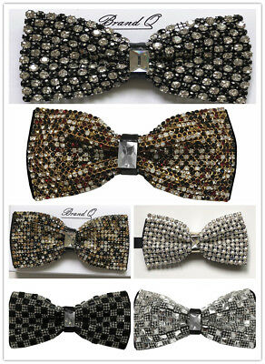 Deluxe Glitter Crystal Rhinestone Pre-tied Tuxedo Bow tie Wedding Prom Party - Glitter Bow Tie