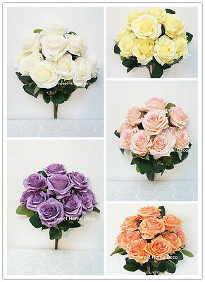Sweet Home Deco 18'' Princess Diana Rose Silk Artificial Flower Valentine's Day  ()