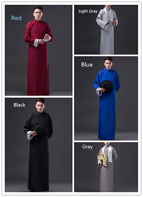 Chinese Men Ancient Mandarin Robe Long Gown Ip Man Costume Stage Without - Chinese Mandarin Kostüm