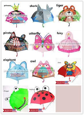 Kids Girls Boy Novelty Cartoon 3D Pop-up Ear Dome Hook Umbrella Rain Brolly Gift](Novelty Umbrella)