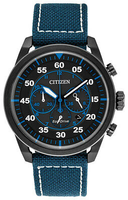 Citizen Eco-Drive Men's CA4215-39E Avion Black Dial Blue Nylon Strap 45mm Watch