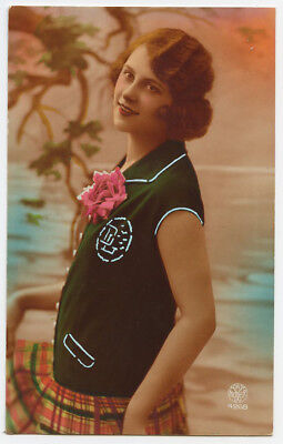 1920s Glamour Glamor PRETTY FRENCH LADY woman women fashion photo postcard for sale  Santa Ana