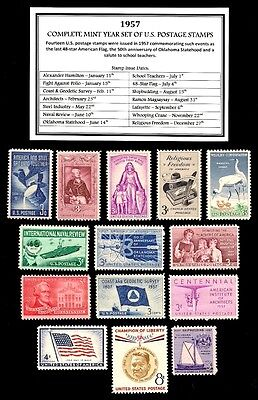 1957 - COMPLETE YEAR SET OF VINTAGE MINT, NEVER HINGED, U.S. POSTAGE STAMPS