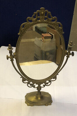 Ornate Brass Table Top Dressing Table Mirror