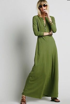Free People M Dress El Topo Henley Maxi Dress Miles of COTTON FP Beach Green