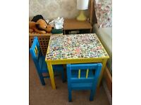 IKEA SAVLA Children's wooden table and two chairs
