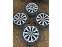"16"" 5x100 Genuine Vw volkwagen Polo Alloy Wheels Alloys With Tyres 2008-2018"
