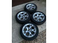 """GENUINE 17"""" FORD FIESTA MK7 8 ZETEC S SNOWFLAKE St Alloy WHEELS AND TYRES Silver"""