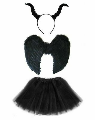 HALLOWEEN DARK DEVIL COSTUME Black Feather Girls Fancy Dress Outfit Party NEW UK](Party Halloween Costumes Uk)