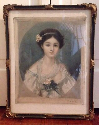 Antique Mezzotint Lithograph Print If A Beautiful Lady. Circa 1910 All Original