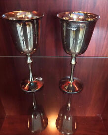 Two silver plated wine goblets in perfect condition