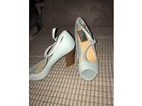Bertie Peep Toe T Bar Light Blue Leather Sandals Size 5