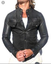 All Saints Mens MONSTER Black Leather Jacket, Slim Fit