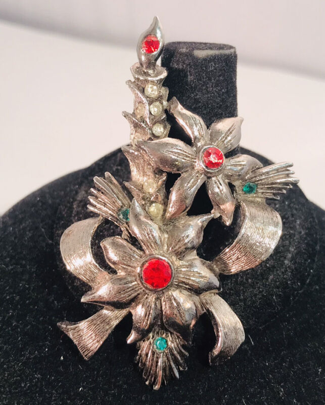 Vintage Signed Beatrix Silver Rhinestone Christmas Candle Poinsettia Brooch Pin