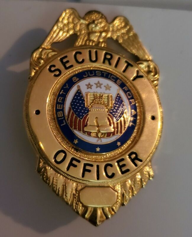 Vintage Obsolete Security Officer Gold Toned Badge Liberty & Justice For All USA