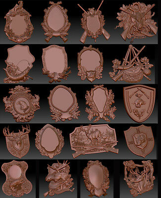 20 3d Stl Models For Cnc Router Mill - Vectric Rlf Artcam Medalions Hunting