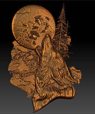 3d Stl Model For Cnc Router Mill - Vectric Rlf Artcam Pano Wolf