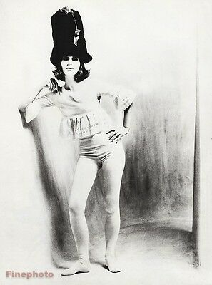 1962 Vintage FEMALE TIGHTS Fashion Hat Woman 16x20 Photo Gravure Art SAM HASKINS