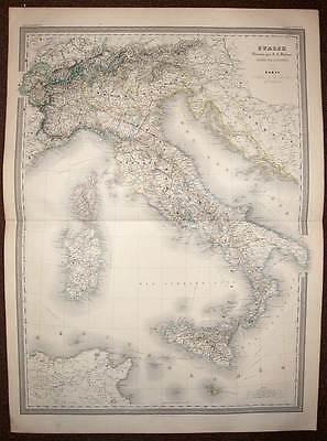 carte géographique ancienne de l'italie generale, par dufour 1857