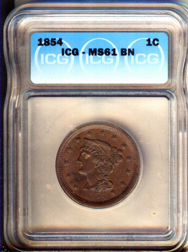 1854  BRAIDED HAIR  LARGE CENT  CHOICE UNC - ICG MS61 BN -  LOOKS BETTER !
