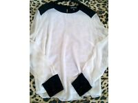 warehouse blouse white with black shiny detail shoulders and cuffs size 16