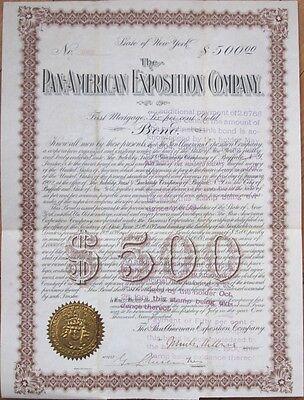 1900 Bond Certificate: 'Pan-American Exposition Company' - JOHN MILBURN, 1901