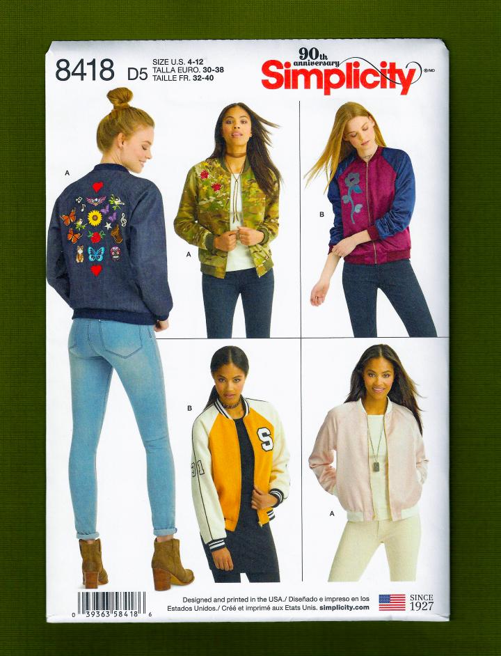 Misses Bomber Jacket Sewing Pattern~Raglan Sleeves!  Simplic
