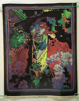 Jimi Hendrix Original Vintage Blacklight Poster Psychedelic Pin-up 1970 Green UV