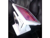White Windows Touchscreen All In One PC + External Screen on Stand Point of Sale Unit