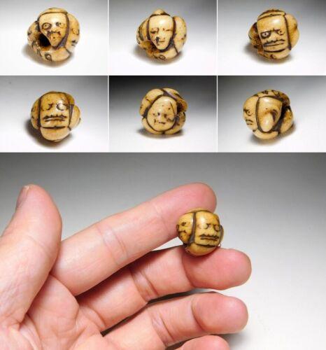 Noh Masks OJIME Bead NETSUKE Japanese Original Edo Inro Antique