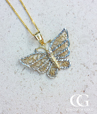 Fine 9ct Two Colour Gold Diamond Cut Butterfly Necklace 16