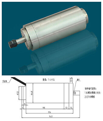 100w 0.1kw Er8 60000rpm Precision High Speed Spindle Motor Nature Cooling 36vac
