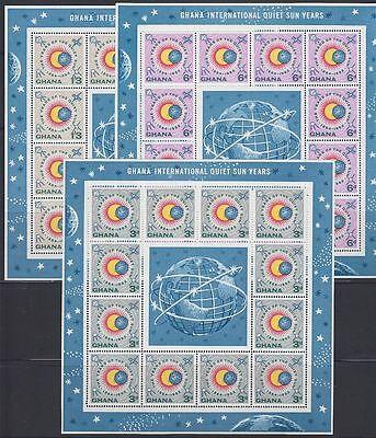 Ghana 1964 ** Mi.185/87 A Klbg. Weltraum Space Espace Ruhige Sonne quiet sun