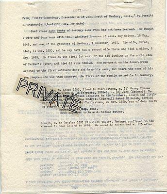 Older SWETT Family Genealogy Written Papers, Massachusetts 1642-England-4 page
