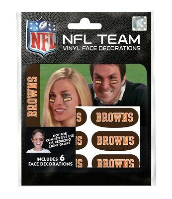 Cleveland Browns Eye Black Strips 6 High Quality Vinyl NFL Face Decorations
