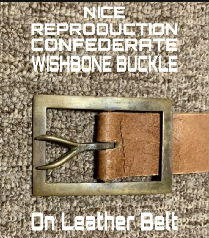 """Nice Looking CONFEDERATE WISHBONE BUCKLE on Leather Belt. Size 34"""""""