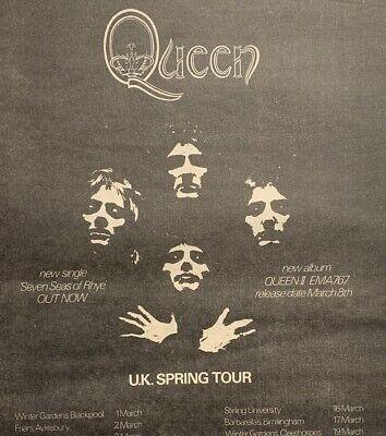 QUEEN 1974 vintage POSTER ADVERT UK CONCERT TOUR II Freddie Mercury